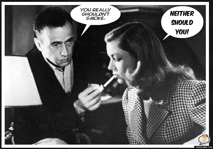 bogart and bacall smoking